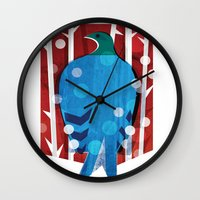 pigeon Wall Clocks featuring Pigeon by bbay