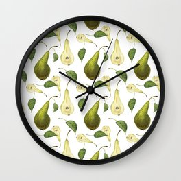 Watercolor seamless pattern with pears Conference and leaves. Botanical isolated illustration.  Wall Clock