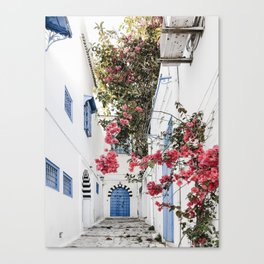 Blue Door Pink Blossom Photo   Tunisia Travel Photography   Alley With Blue Door And Pink Flowers Canvas Print