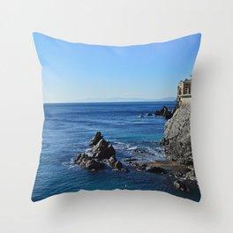 Amazing sea landcape from Genova , Italy Throw Pillow