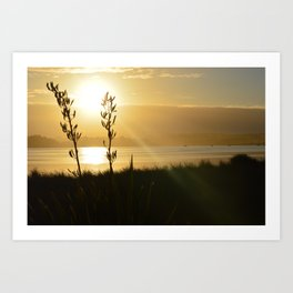 NEW ZEALAND SUNSET OVER THE LAKE Art Print