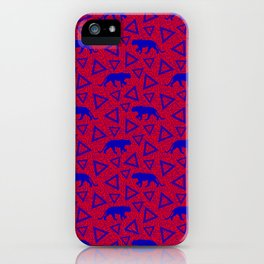 Wild African walking blue lioness silhouettes and abstract triangle shapes. Stylish whimsical ethnic tribal dark red retro vintage geometric animal nature pattern. iPhone Case