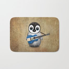 Baby Penguin Playing Salvadorian Flag Acoustic Guitar Bath Mat