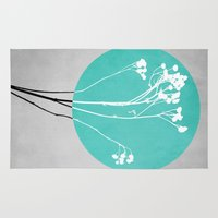 decal Area & Throw Rugs featuring Abstract Flowers 1 by Mareike Böhmer