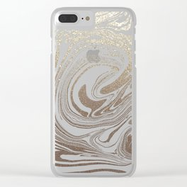 Mermaid Gold Wave Clear iPhone Case