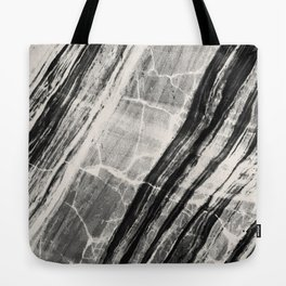 Abstract Marble - Black & Cream Tote Bag