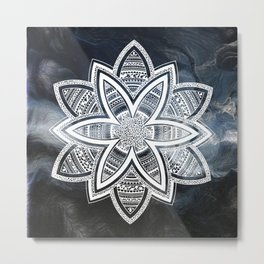 wholeness white mandala on sky Metal Print