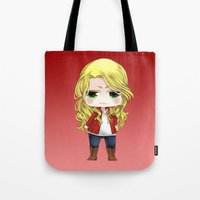 ouat Tote Bags featuring OUAT - Chibi Emma Swan by Yorlenisama