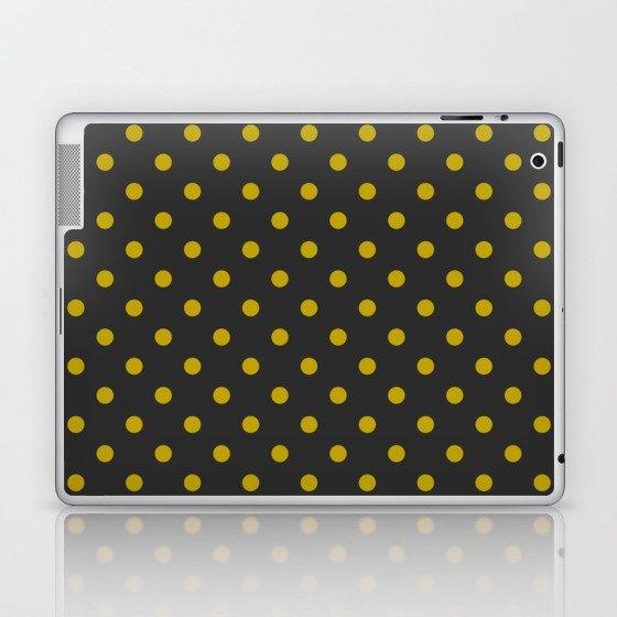 Black and Gold Polka Dots Laptop & iPad Skin