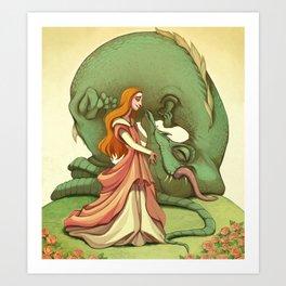 Girl and her Dragon Art Print
