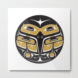 Northwest Pacific American Native Totem In Gold No. 5 Metal Print
