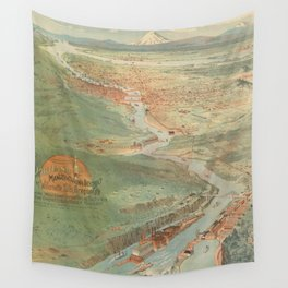 Vintage Pictorial Map of Portland OR (1896) Wall Tapestry