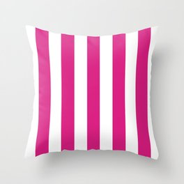 Vivid cerise pink -  solid color - white vertical lines pattern Throw Pillow