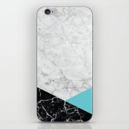 White Marble - Black Granite & Teal #871 iPhone Skin