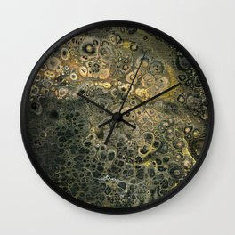Fluid Black And Gold Acrylic Pour Painting Wall Clock