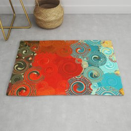 Turquoise and Red Swirls Rug