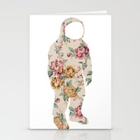 neil gaiman Stationery Cards featuring Floral Neil  by Grafity Apparel