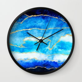 Modern faux gold foil navy blue ombre watercolor hand painted brushstrokes Wall Clock