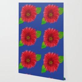 red flower on blue Wallpaper