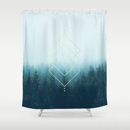 Foggy Blue Pine Forest Shower Curtain