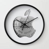 apple Wall Clocks featuring Apple by David Bastidas
