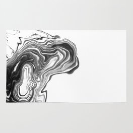 Suki - spilled ink black and white minimal modern painting wave water swirl marble marbled pattern Rug