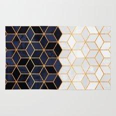 White & Navy Cubes Rug