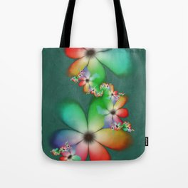 Rainbow Flowers Keeping Cool Against a Mint Wall Tote Bag