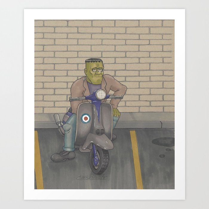 Frankenstein Scooter Art Print