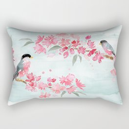 Birds and Blooms Rectangular Pillow