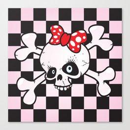 girl power skull Canvas Print