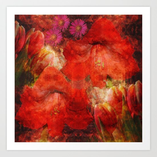 Floral impressionism in passionated red Art Print