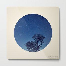 Circular Tree & Stars Metal Print