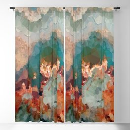 Turquoise Copper Agate Low Poly Geometric Triangles Blackout Curtain