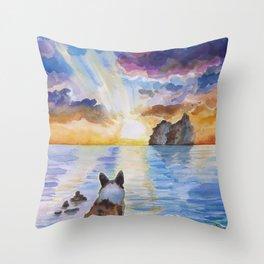 Corgi - dreamer and calm calm sunset Throw Pillow
