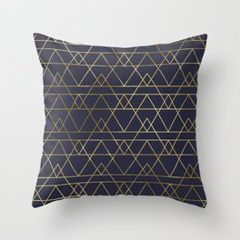 Modern Gold Navy Blue Throw Pillow