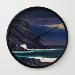 Classical Masterpiece Brewing Storm, Monhegan Island, Maine by Rockwell Kent Wall Clock