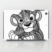 simba iPad Cases featuring Zentangle Simba by ElFineLines
