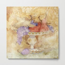 Watercolor Fruit on Clay Fresco Metal Print