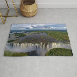 Victoria Falls with Rainbow, Zambia and Zimbabwe, Africa Rug