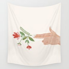 Floral Pistol Wall Tapestry