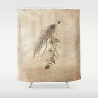 bohemian Shower Curtains featuring Bohemian Feather by LouJah
