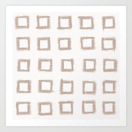 Square Stroke Dots Nude on White Art Print