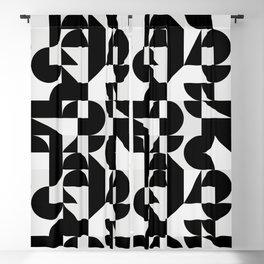 Modern Geometry / Minimal, Black, White, Grey Blackout Curtain