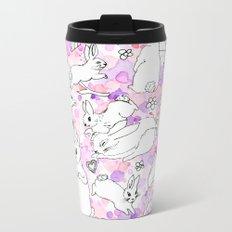 Bunnies Pink and Purple Metal Travel Mug
