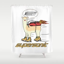 Supersonic Llama Ice Skate Speed Skating Gift Shower Curtain