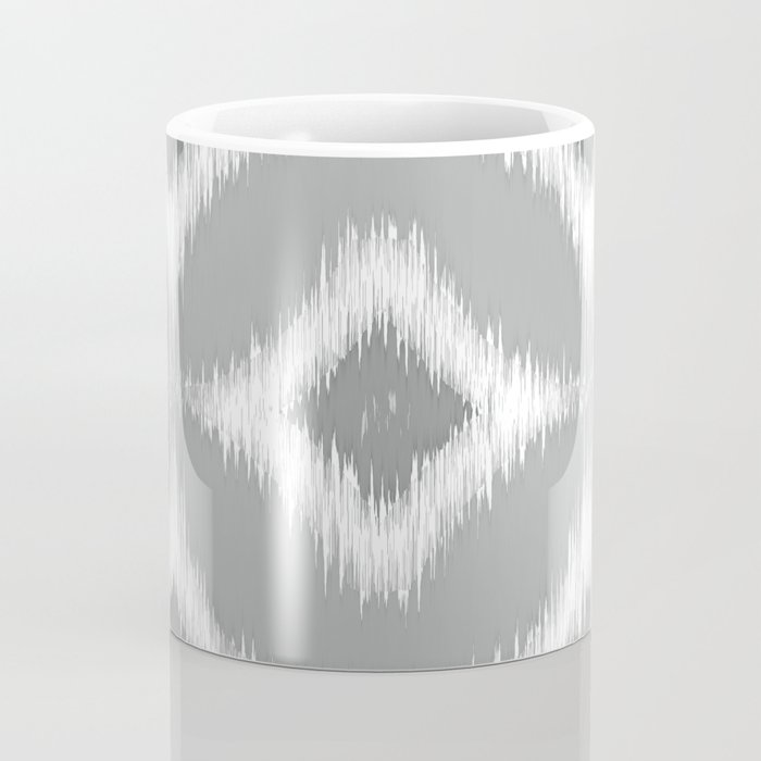 Elegant White Gray Retro Circles Squares Ikat Pattern Coffee Mug
