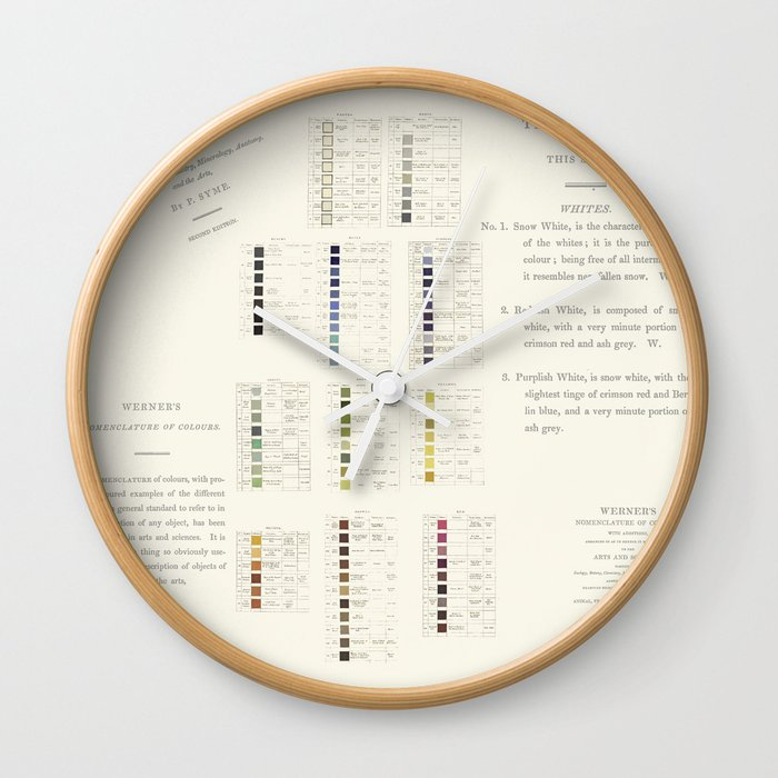 Werners Nomenclature Of Colour Wall Clock By Anipani Society6