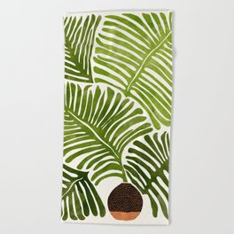 Summer Fern / Simple Modern Watercolor Beach Towel