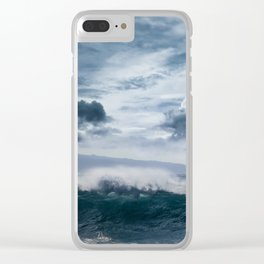 He inoa wehi no Hookipa  Pacific Ocean Stormy Sea Clear iPhone Case